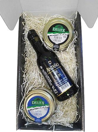 Caja Estuche Gourmet con Queso de la Serena y Crema de Queso de Oveja Vino Antaño Rioja Crianza de 18.7 cl Ideal para Navidad Regalos para Asistentes a Reuniones y Eventos: Amazon.es: