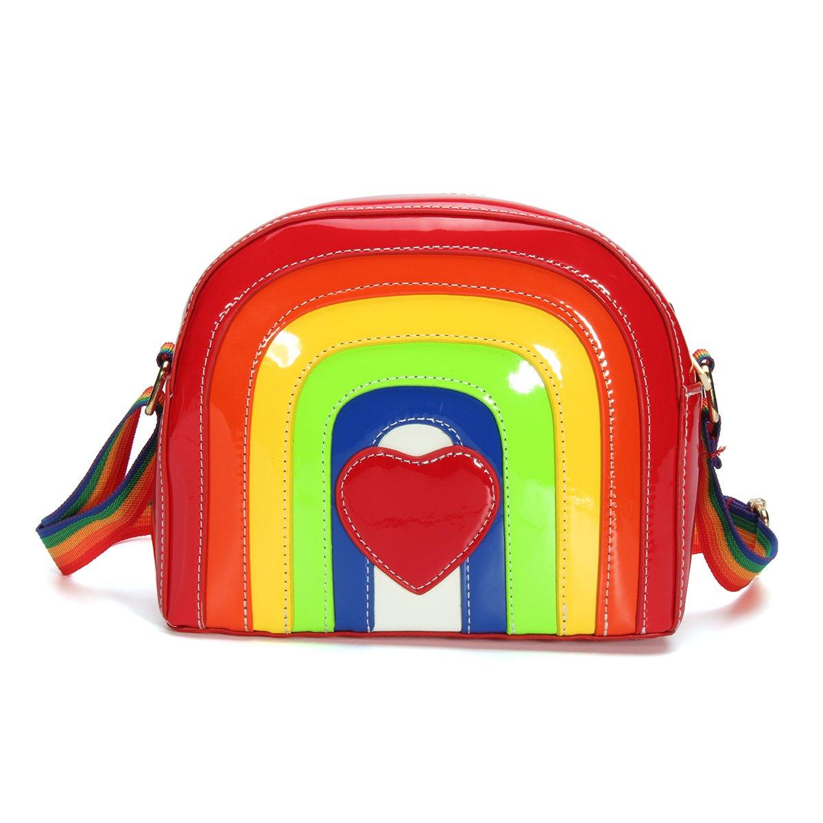 OURBAG Cute Women Rainbow Colors Stripes Messenger Bag Shoulder Bag PU Leather Handbag Rainbow