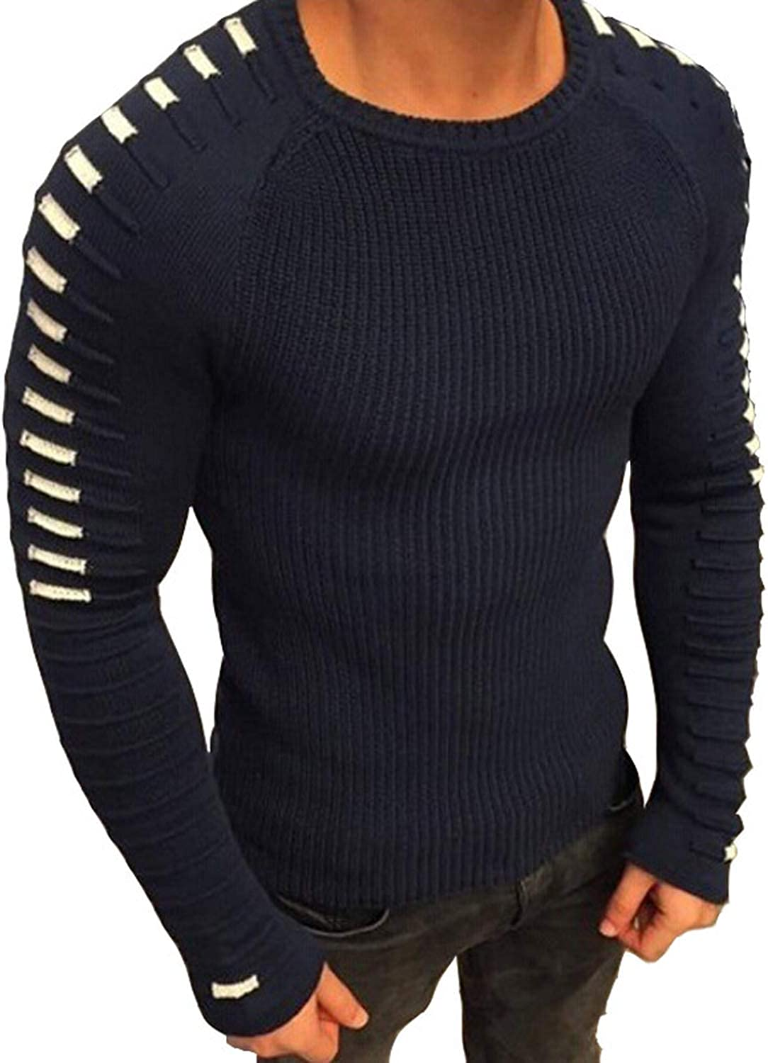 2019 Casual Pullover Men Long Sleeve O Neck Patchwork Knitted Solid Men Sweaters,Color 7,Asian Size 3XL,China