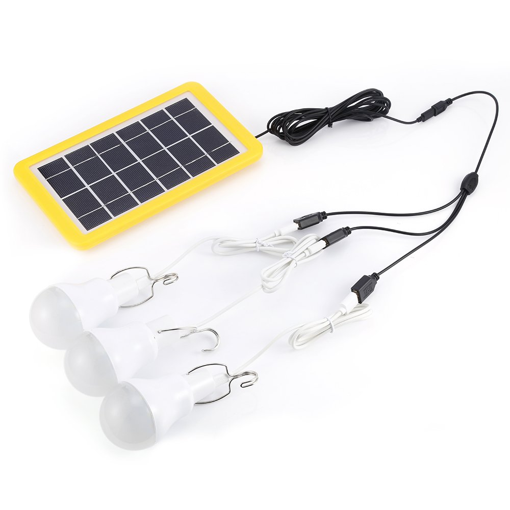 Solar Panel Lighting Kit Dusk to Dawn, 3 Bulbs LED Camping Light with Solar Panel, Portable Outdoor Solar Energy Lamp Lighting for Emergency Hurricane Power Outage Hiking Camp Tent Garden