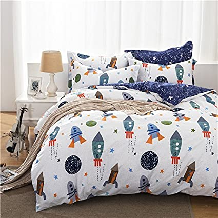 Brandream Space Bedding Queen Size Kids Bedding Sets Boys Duvet Cover Set  100% Cotton Duvet