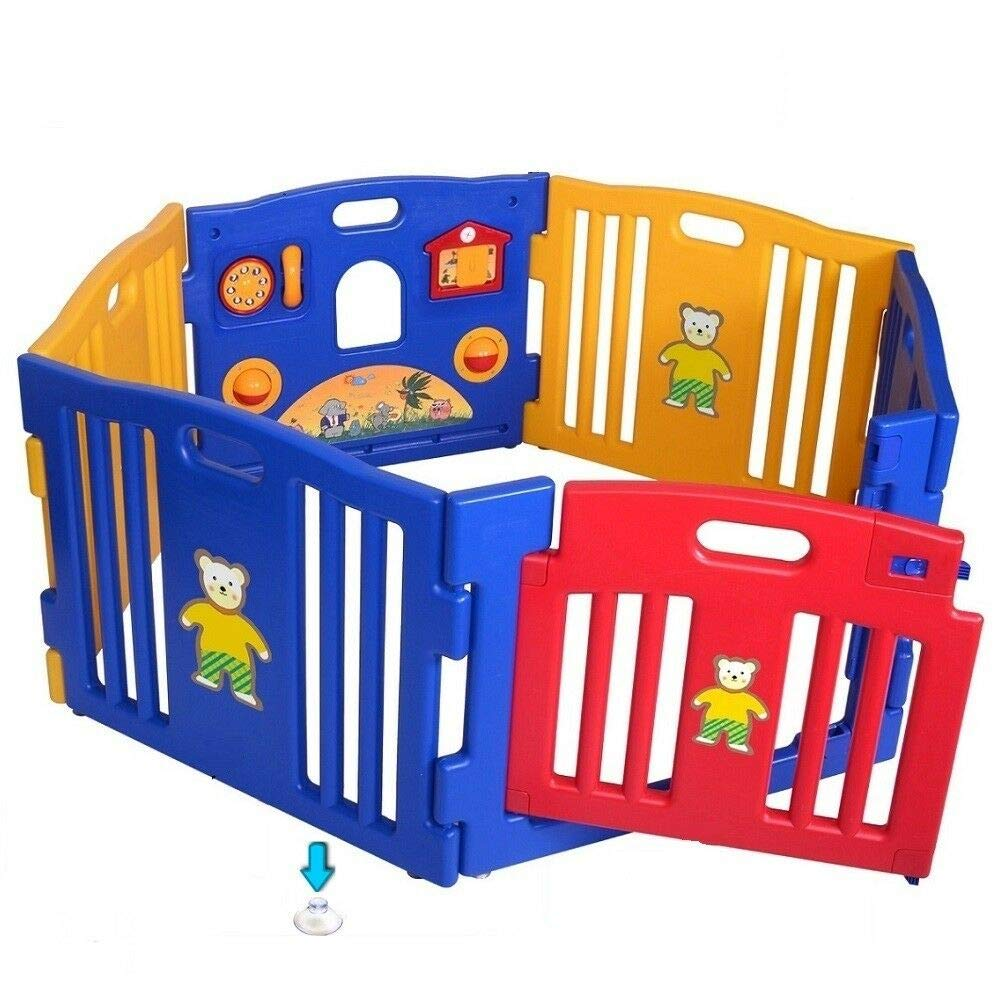 Baby Babies Care Safety Fence Gates Best Choice DIY No Screws Without Wooden 6 Panel Baby Playpen Safety Play Center Yard Home Indoor Outdoor Pen by kwantasmile (Image #1)