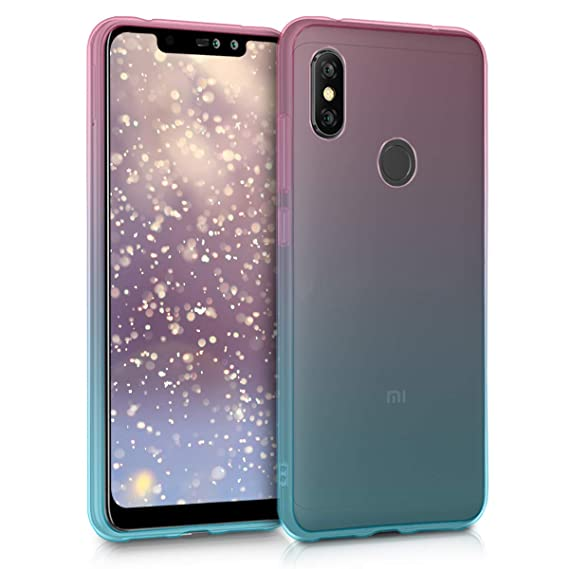 kwmobile TPU Silicone Case for Xiaomi Redmi Note 6 Pro - Crystal Clear Smartphone Back Case Protective Cover - Dark Pink/Blue/Transparent
