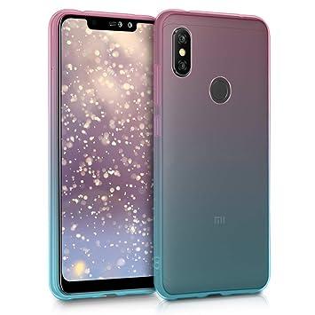 kwmobile Funda para Xiaomi Redmi Note 6 Pro - Carcasa de [TPU] para móvil y diseño Bicolor en [Rosa Fucsia/Azul/Transparente]
