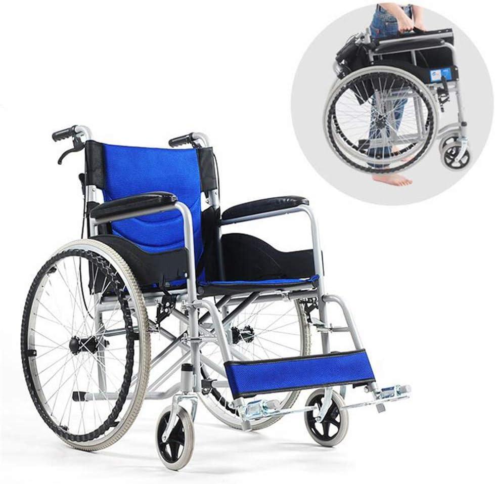 CSPFAIZA Silla de Ruedas Plegable Ligera, Reposabrazos y Reposapiés Extraíbles, Espaciosa, con Frenos, para Personas Mayores y Discapacitadas, Azul