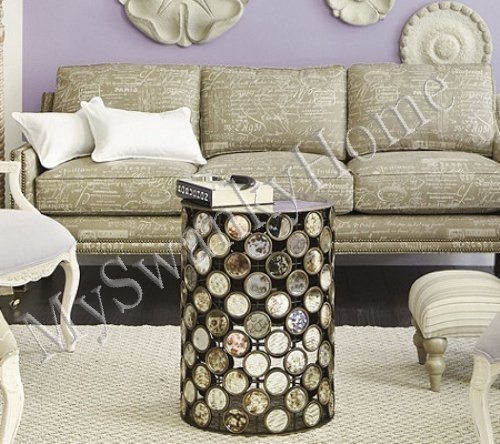 Amazon Luxe Mirror Top IRON Circles Accent Side Table Gold Contemporary Sadie Kitchen Dining