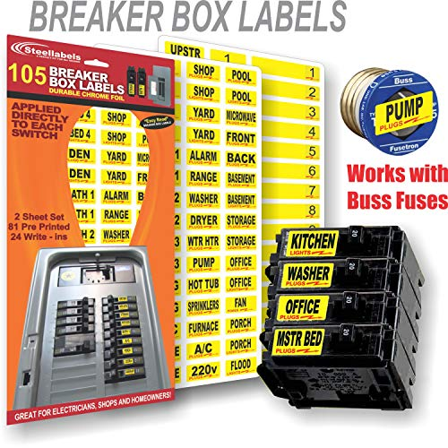Circuit Breaker ID Tags plus Bonus Chrome Socket Labels for tool organizing, great for Home Owners, Apartments & Electricians, Decals fit all Breaker Panels & Switches, applies directly to the breaker by Steellabels (Image #2)