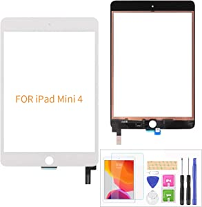 A-MIND For IPad Mini 4 A1538 A1550 Touch Screen Replacement Parts,(Not LCD,NO Home Button) With Screen Protector+Repair Tools(White)