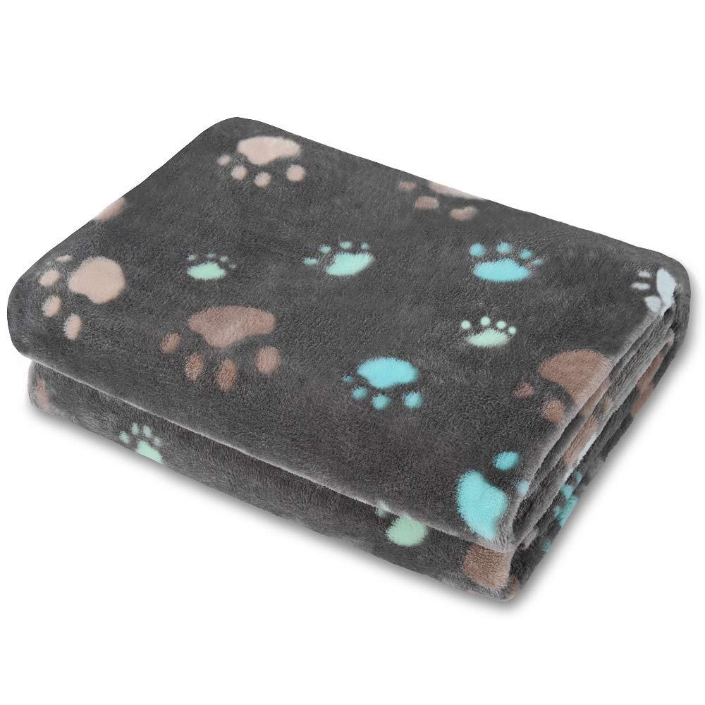 Allisandro Super Soft Fluffy Dog Cat Puppy Blanket,Total 4 Sizes Small Medium Large Pet, Grey[100% Flannel Fleece]