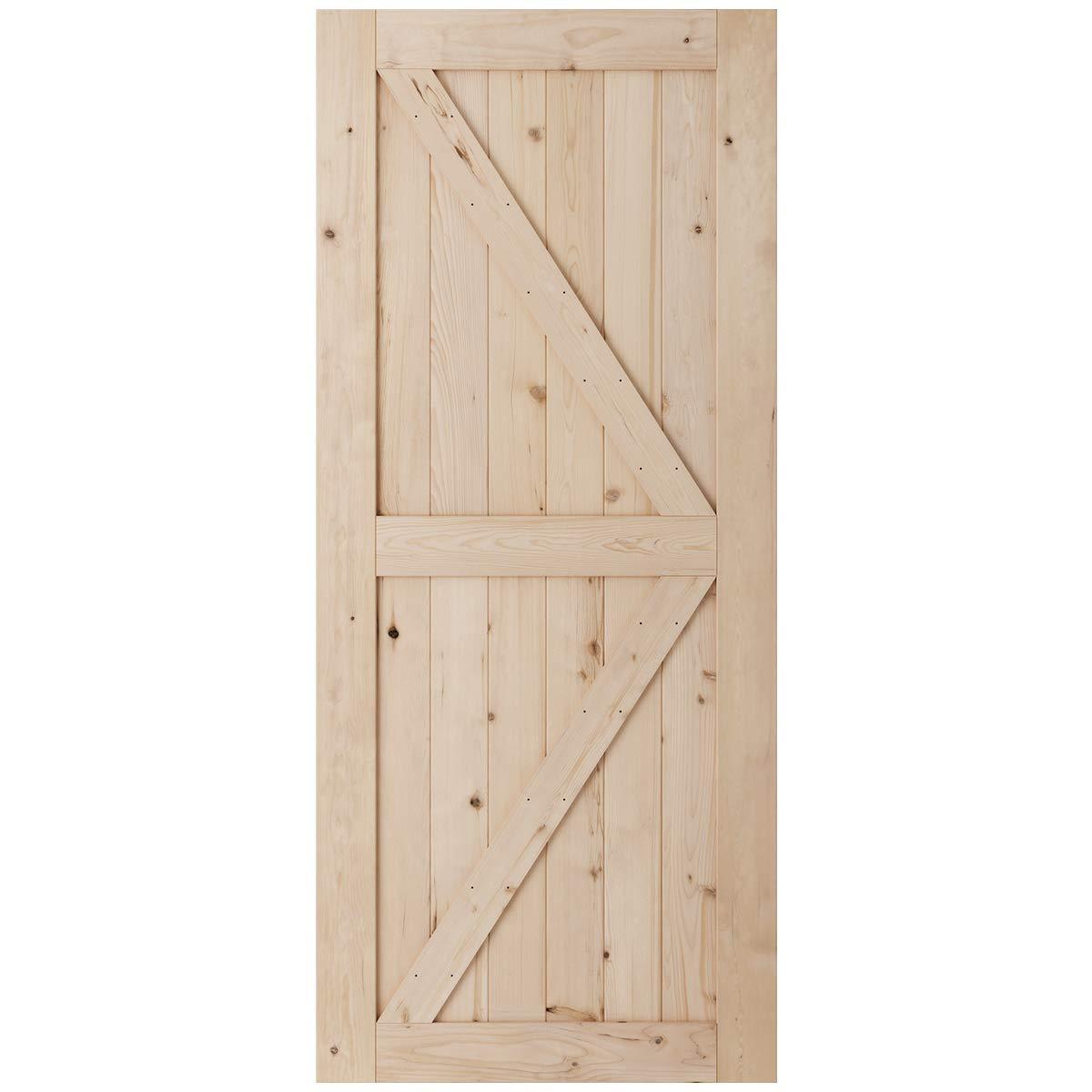 SmartStandard 36in x 84in Sliding Barn Wood Door Pre-Drilled Ready to Assemble, DIY Unfinished Solid Hemlock Wood Panelled Slab, Interior Single Door Only, Natural, K-Frame (Fit 6FT-6.6FT Rail) by SMARTSTANDARD