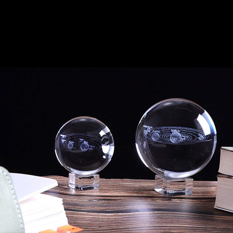JohnJohnsen Bola de Cristal Sistema Solar 3D Planetas Bola de Cristal Grabado l/áser Globo Miniatura Modelo Decoraci/ón astronom/ía Ornamento Regalo transpant