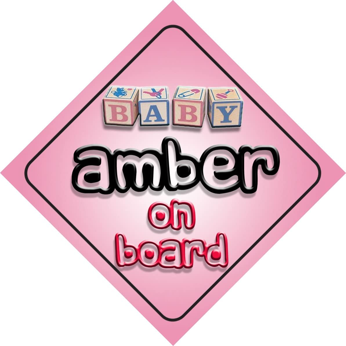 newborn baby Baby Girl Amber on board novelty car sign gift present for new child
