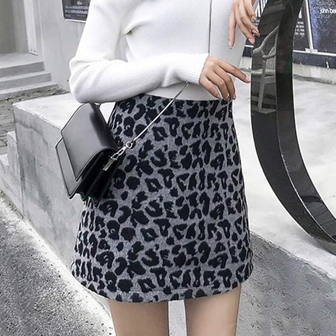 HEHEAB Falda,Mini Lápiz Gris Falda Leopardo Mujer Primavera Verano ...