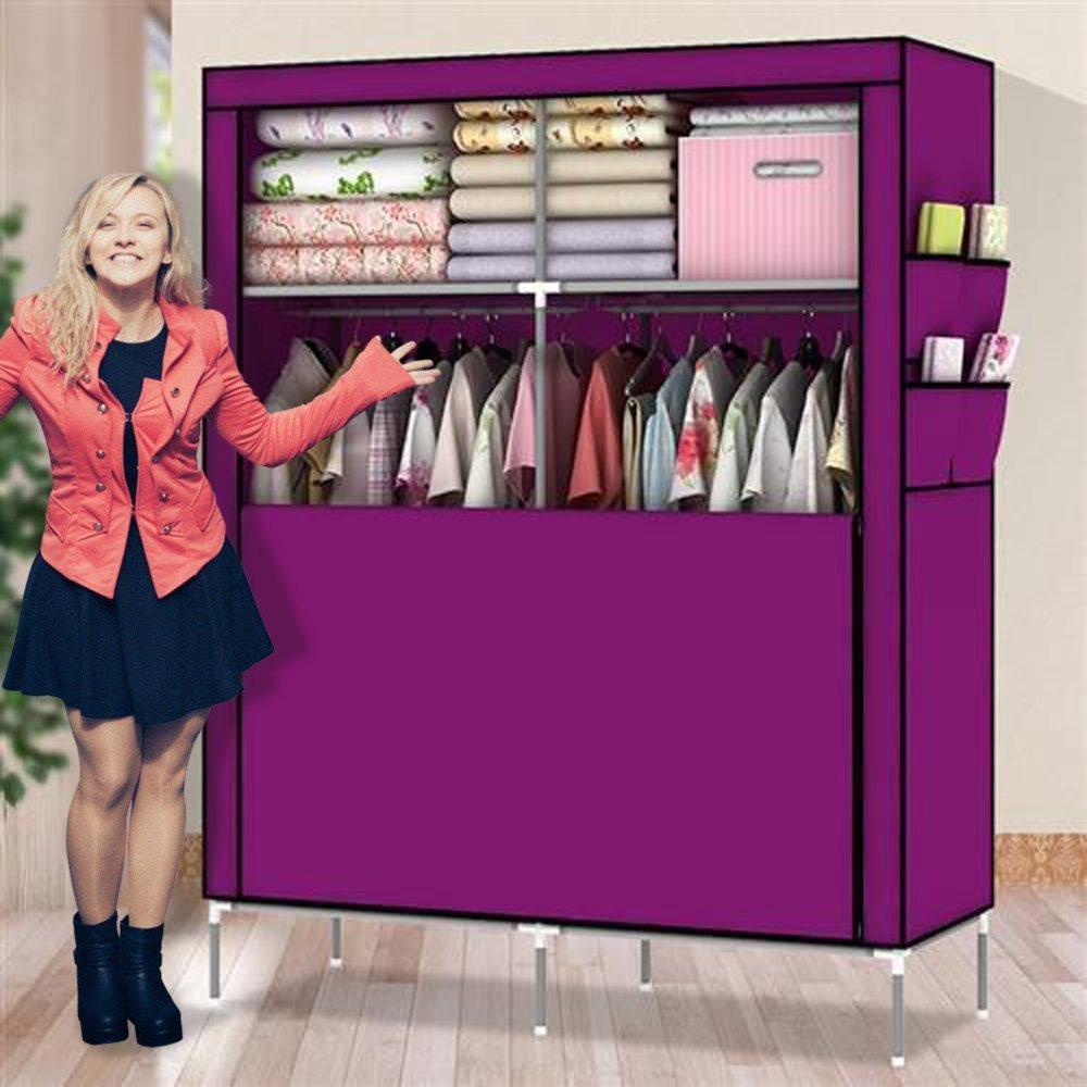 ULHome Portable Clothes Closet Wardrobe Fabric Clothes Storage Organizer (Size - 69 x 43 x 18in) (Purple)