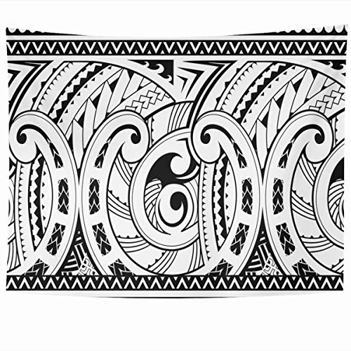 Ahawoso Tapestry Wall Hanging 60x50 Inches Pattern Tattoo Maori Good Sleeve Abstract Ancient Tribal Samoa Hawaii Curve Design Vintage Home Decor Tapestries Art for Living Room Bedroom Dorm