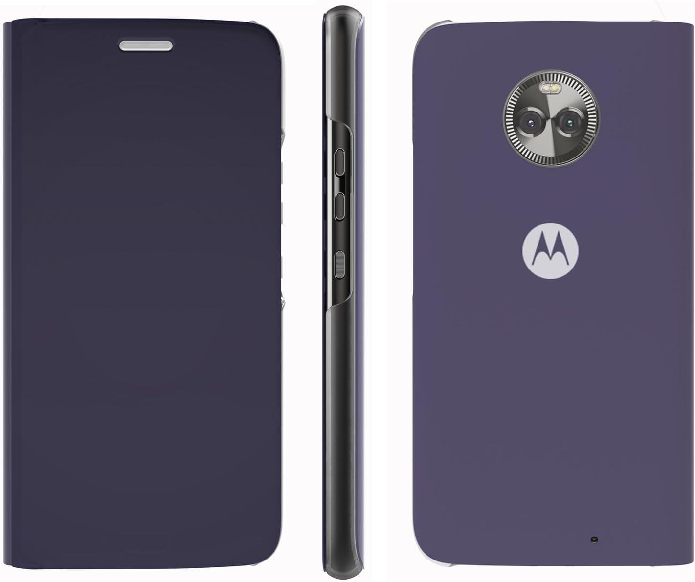 Lenovo Moto X4 Flip Case, Touch Flip Cover Transparent Shell Shock Resistant and Edge Protective Folio Flip Case for Motorola Moto X4 (Blue)