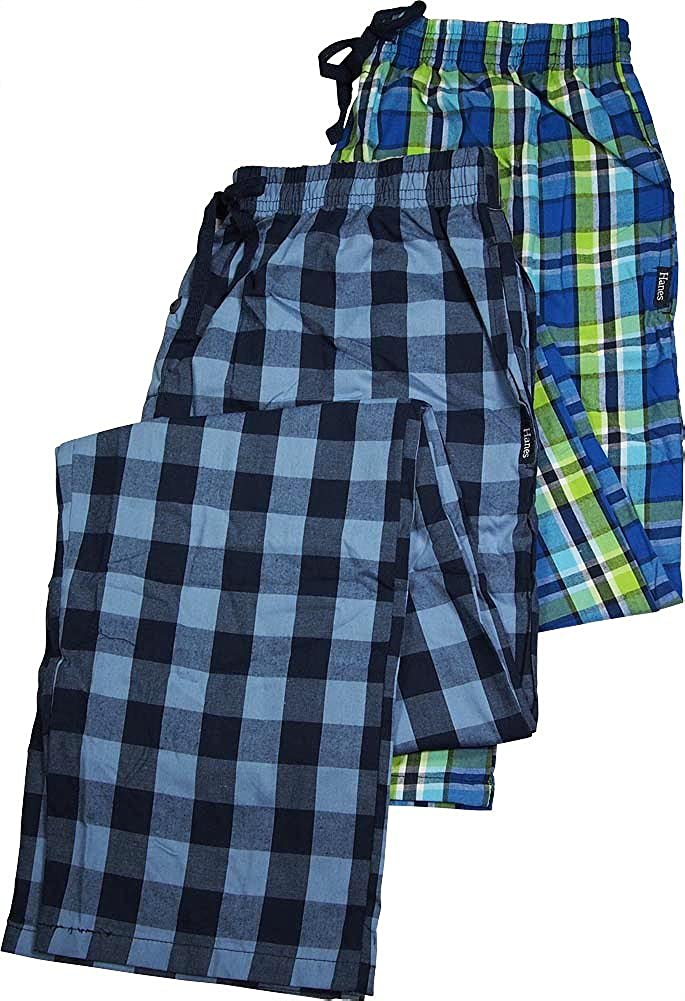 Hanes - Mens Tall 2 Pack Woven Broadcloth Sleep Lounge Pants