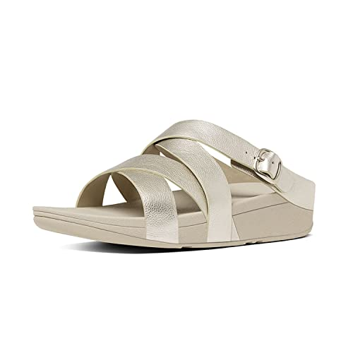 88e1293b6 FitFlop The Skinny Criss Cross Slide - Pale Gold Leather Womens Sandals 8  UK  Amazon.co.uk  Shoes   Bags