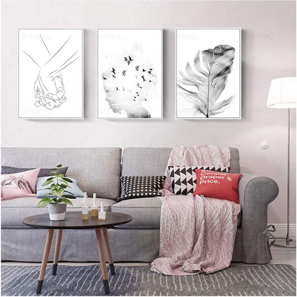 (N/A) Nordic Feather Wild Goose Hand Canvas Poster Wall Picture Wall Art Painting Canvas Art Print Poster Home Decor Painting 50x70cm No Frame