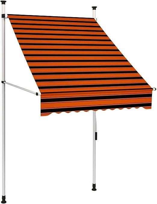 vidaXL Markise Einziehbar Handbetrieben mit LED Wasserabweisend Klemmmarkise Balkonmarkise Sonnenschutz Terrasse Balkon Garten 100cm Anthrazit