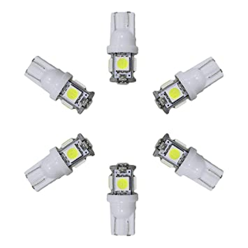 muchkey® T10 Coche LED bombillas LED coche de luz interior LED luces 5LED, blanco