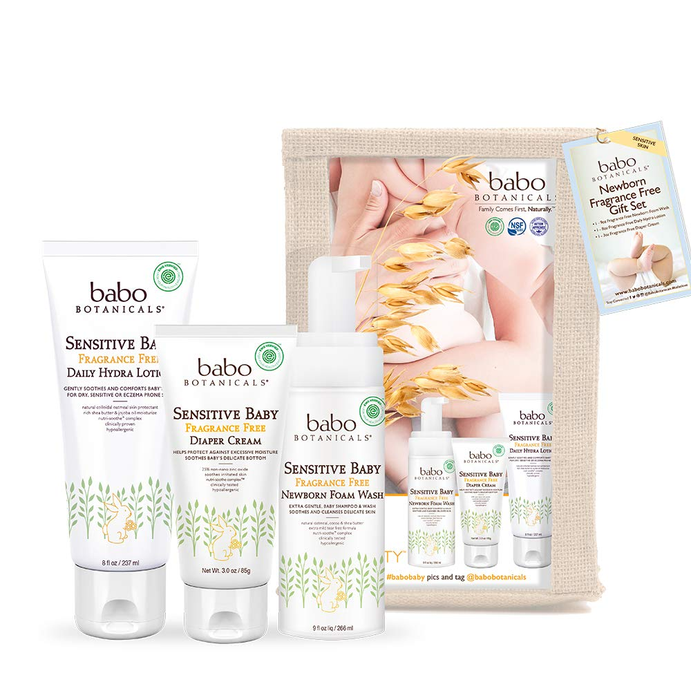 Babo Botanicals Newborn Fragrance-Free Gift Set, Essential Set with Natural Oat & Organic Calendula, Hypoallergenic, Perfect Baby Shower Gift - 3 Pack