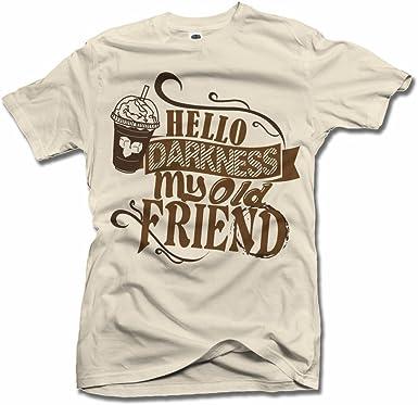 AM T-Shirts Hello Darkness My Old Friend - Camisa de café, diseño con Texto en inglés - Marrón - 5X-Large: Amazon.es: Ropa y accesorios