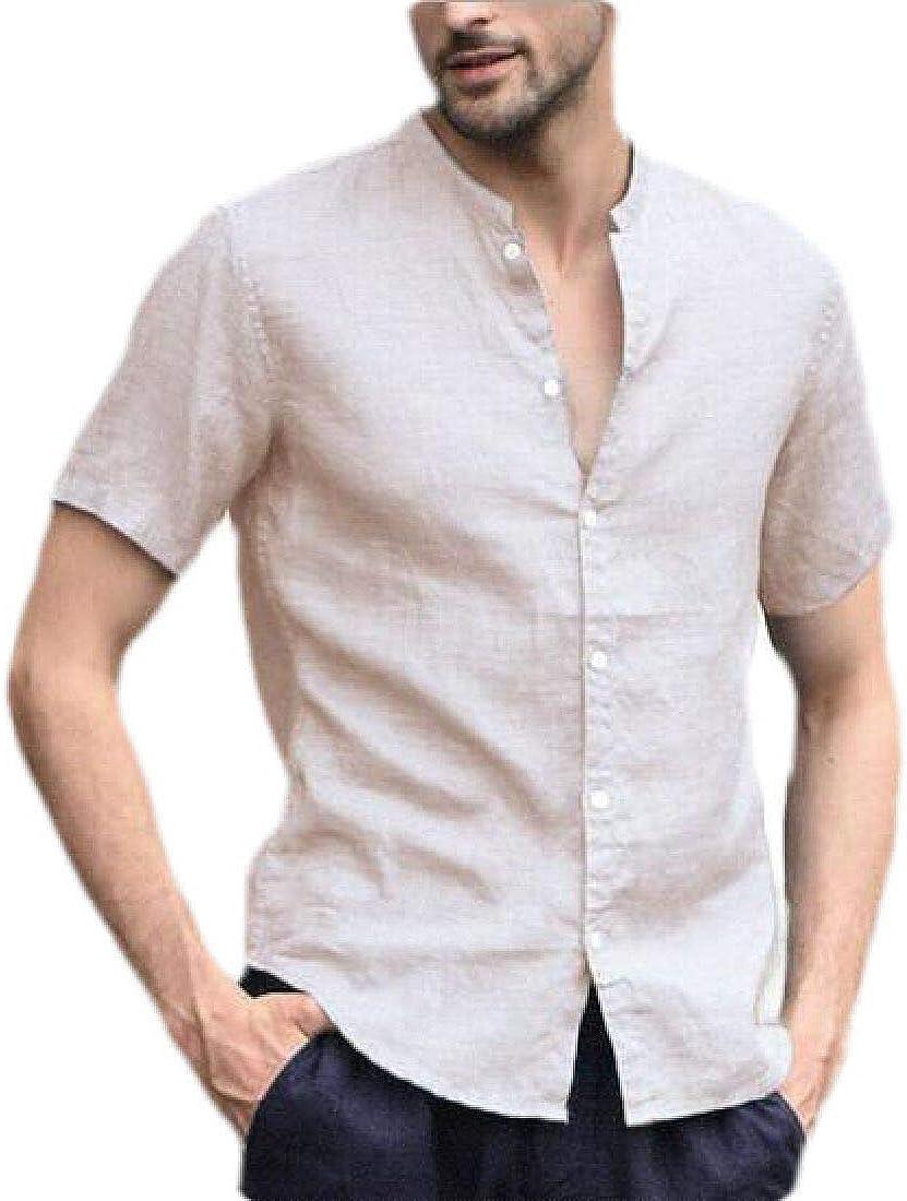 Zantt Mens Short Sleeve Relaxed Fit Button Up Stand Collar Cotton Linen Shirts