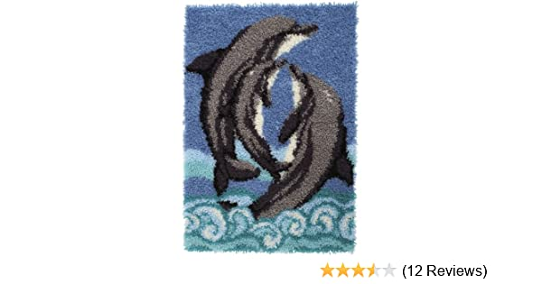 Spinrite Wonderart Latch Hook Kit 27 by 40-Inch Dolphins