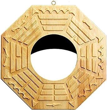 BaGua Spiegel konkav ca 12cm Holz Feng Shui Schutzschild China goldfarben