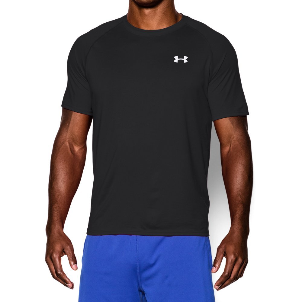 Under Armour Men's Tech Short Sleeve T-Shirt, Black/White, Large by Under Armour