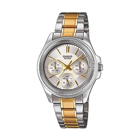 Casio Reloj con Movimiento Cuarzo japonés Ltp+2088Sg.7A Plateado/Dorado 35 mm: Amazon.es: Relojes