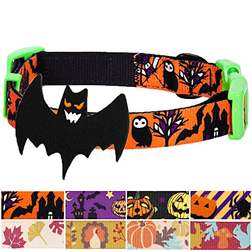 Blueberry Pet 8 Patterns Halloween Mystery Disguise Classic Designer Dog Collar with Decoration, Small, Neck 12