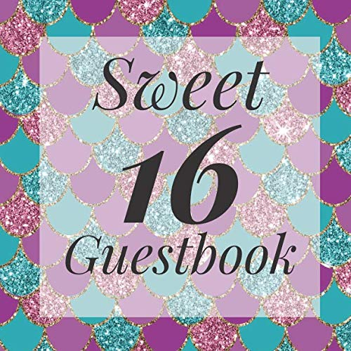 Sweet 16 Guestbook: Pink Purple Glitter Mermaid Scales Under The Sea Guest Book  - Elegant Birthday Wedding Anniversary Party Signing Message Book - ... Keepsake Present - Special Memories Ideas -
