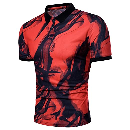 aed4343958a iHPH7 Mens Blouse Personality Summer Casual Slim Short Sleeve T Shirt Tops  at Amazon Men's Clothing store: