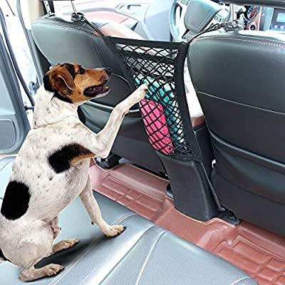 """Cargo Net - Car Organizer Dual Layer Mesh Organizer, [12.6""""x11""""]Car Pet Barrier- Dog Barrier to Keep Your Pets and Drivers Safety in Travel, with Bonus Free Hooks by SNBLO"""