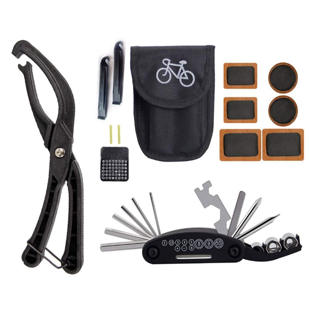 BeiLan Pinze per la rimozione dei Pneumatici della Bicicletta 16 in 1 attrezzo Multifunzione per la Riparazione di Bici con Leve per Pneumatici e raspa