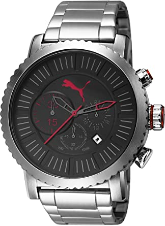 16772a2a77a7 PUMA Popular Men s Quartz Watch with Black Dial Chronograph Display and  Silver Stainless Steel Strap PU103521004