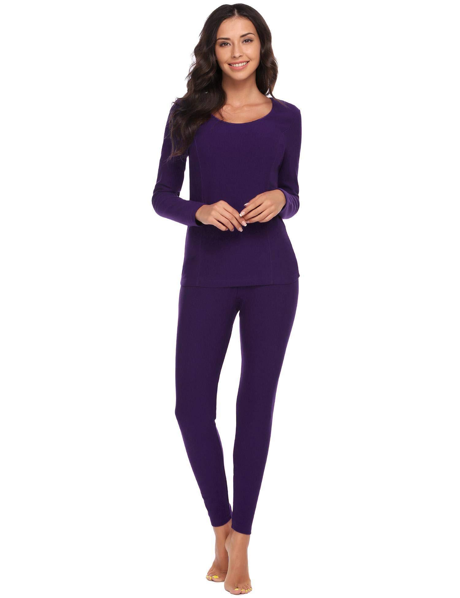 Goldenfox Women 2 Piece Winter Nightgowns Warm Long Thermal Set Plus Size (Purple, XXXL)