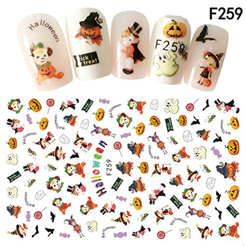 Nail Art Stickers,Putars Fashion Nail Art Decals Halloween Manicure Transfer Stickers (H) -