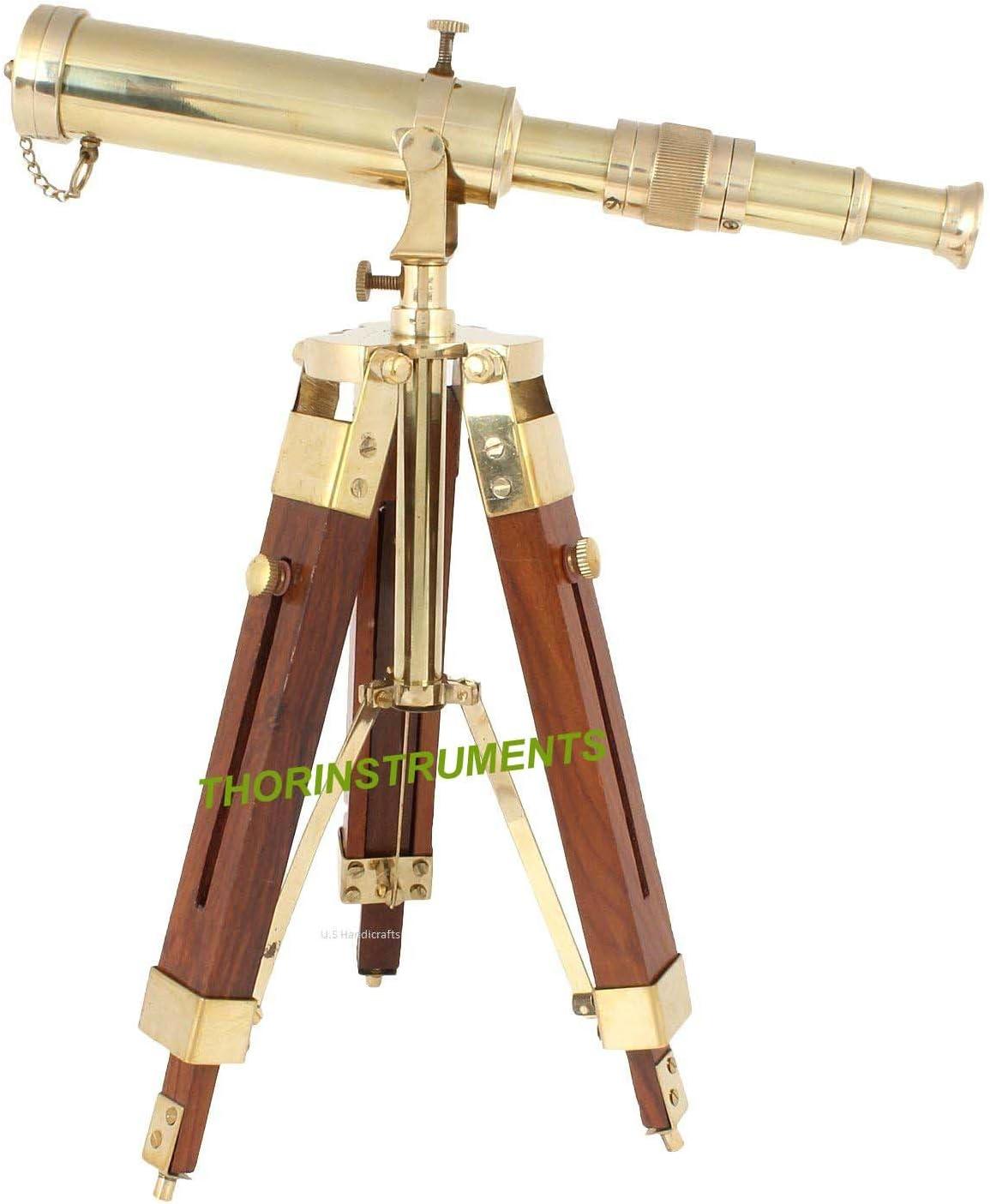 THORINSTRUMENTS (with device) Vintage Brass Nautical Telescope on Tripod Stand Desktop Telescope Outdoor Adventures
