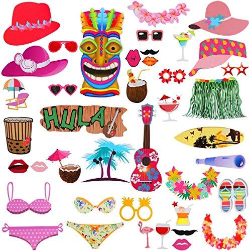 LeeSky 40pcs Luau Photo Booth Props,Hawaiian,Luau,Tropical,Holiday Party Decorations