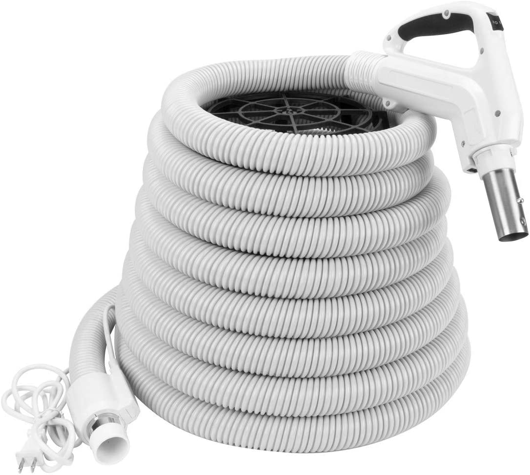 ZVac Universal Central Vacuum Hose - 30FT Pigtail High Voltage Electric Hose - Crush Proof Tube - Ergonomic Swivel Handle - Compatible with Beam, Nutone, Electrolux, Hayden & More - White