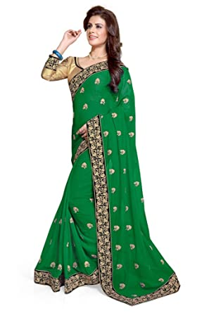 Sourbh Mirchi Fashion Womens Green Faux Georgette Embroidered Party Wear Indian Saree