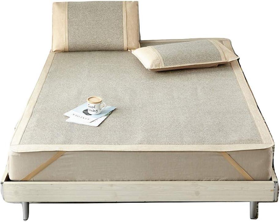 Qbedding Rattan Cooling Summer Sleeping Pad Mattress Topper & Pillow Shams Set (King, Cool Wave Blue)