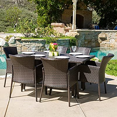 Great Deal Furniture Maple   7 Piece Wicker Outdoor Dining Set   Perfect for Patio   in Multibrown