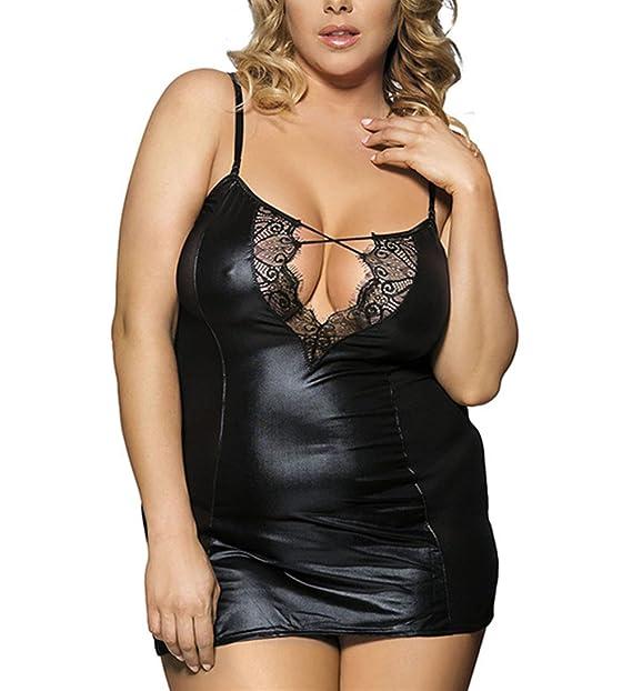 f02286ff27 Cresay PU Leather Corset Sexy Lingerie Bodysuit Clubwear Mini Dress  Bodysuit0030-M