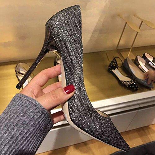 di ZHANGYUSEN damigella 7cm Blonde appuntiti nozze scarpe scarpe Paillettes argento tacchi banchetti a8rBa