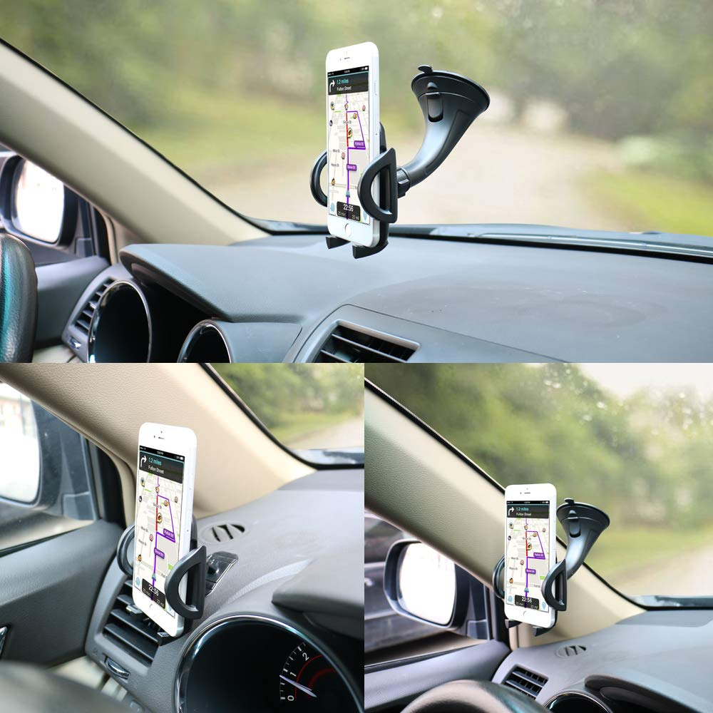 Black 4351489132 Car Phone Holder Windshield Mount,OHLPRO Stick on Dash Dashboard Universal 2-in-1 Cradle,for iPhone Samsung Sony Google All 4-6.4 Smartphones GPS Mobile Black for iPhone Samsung Sony Google All 4-6.4 Smartphones GPS Mobile