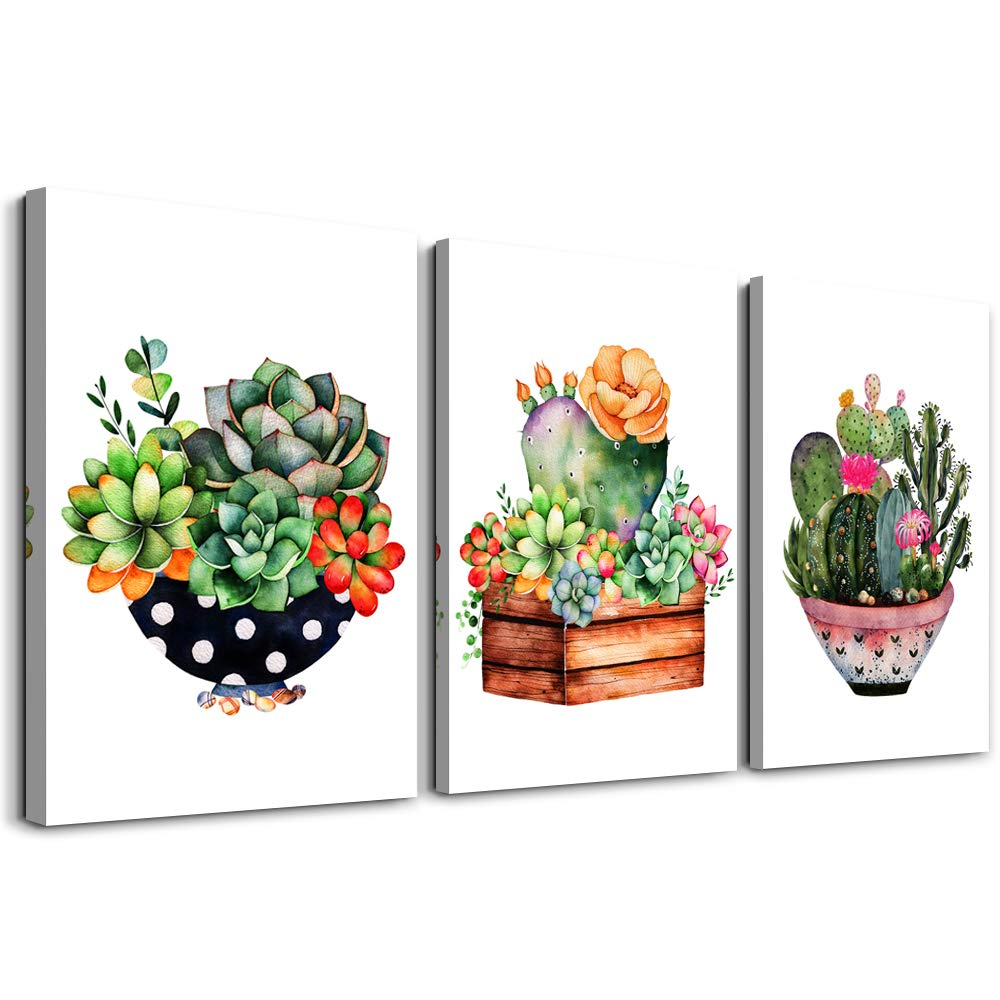 "Canvas Wall Art for Living Room - Abstract Colorful cactus and succulents - Modern Home Decor Stretched and Framed Ready to Hang - Living Room Bedroom bathroom Decoration 12""x16""3 Panels wall decor"